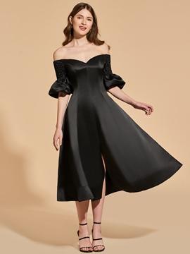 A Line Off The Shoulder Black Cocktail Dress In Tea Length