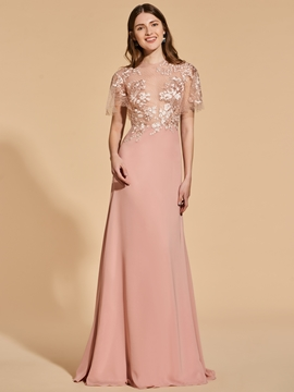 A Line Short Sleeve Emboidery Long Prom Dress