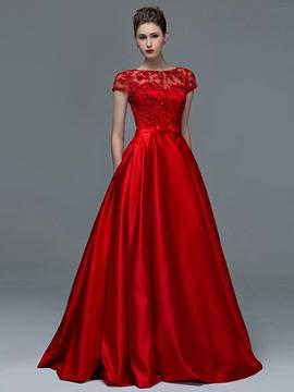 Appliques Sequins Short Sleeves Evening Dress