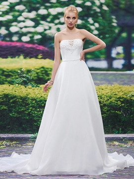 Beautiful Beaded Strapless A Line Wedding Dress