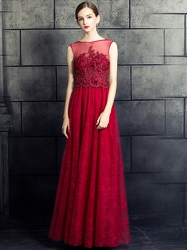 Cute A-Line Bateau Beading Lace Pearls Floor-Length Evening Dress