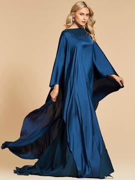 Cute A Line Beaded Bateau Neck Long Sleeve Evening Dress