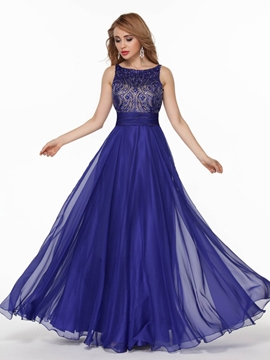 Cute A Line Beaded Crystal Long Evening Dress With Backless Design