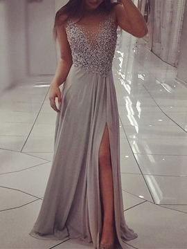 Cute A-Line Beading Long Evening Dress With Side Slit