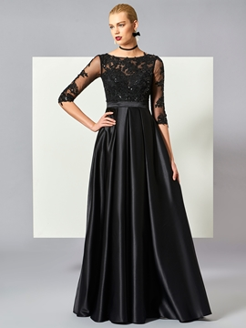 Cute A Line Half Sleeve Lace Applique Beaded Long Evening Dress