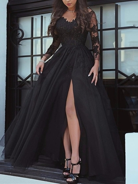 Cute A Line Long Sleeve Applique Side Slit Evening Dress