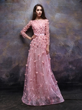 Cute A-Line Long Sleeves Bateau Lace Evening Dress With Appliques And Beading