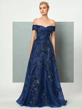 Cute A Line Off The Shoulder Applique Organza Floor Length Evening Dress