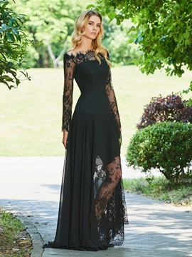 Cute A Line Off The Shoulder Lace Black Evening Dress With Long Sleeve