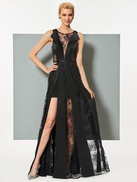 Cute A Line Sheer Lace Slit Floor Length Evening Dress