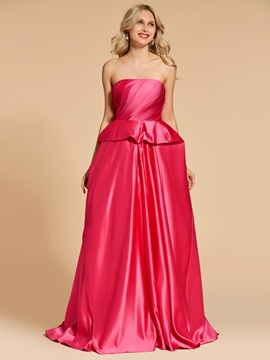 Cute A Line Strapless Layers Evening Dress With Sweep Train