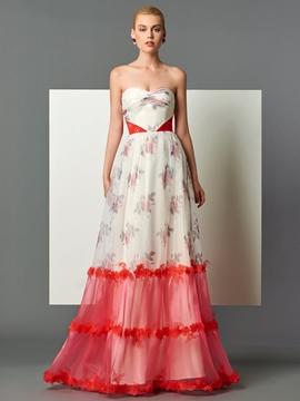 Cute A-Line Sweetheart Printed Pleats Floor-Length Evening Dress