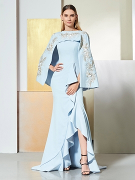 Cute Asymmetry Mermaid Evening Dress With Embroidery