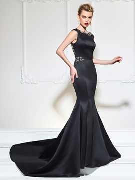 Cute Cap Sleeve Beaded Crystal Mermaid Evening Dress With Court Train