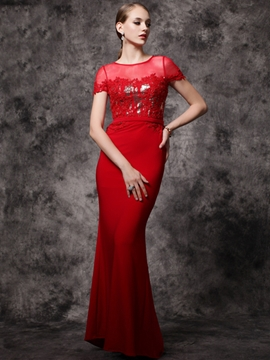 Cute Cap Sleeves Scoop Neck Appliques Beading Sequins Mermaid Evening Dress