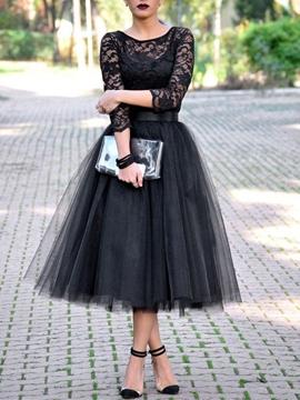 Cute Chic A-Line Scoop Lace Tea-Length Evening Dress