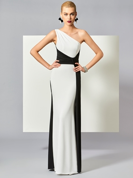 Cute Chic Contrast Color One Shoulder Sheath Floor Length Evening Dress