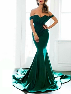 Cute Fancy Mermaid Off The Shoulder Cap Sleeve Court Train Evening Dress