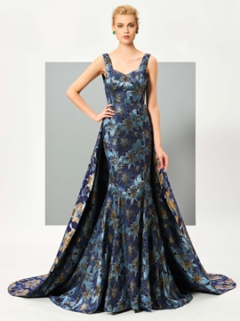 Cute Graceful Straps Print Floor Length Mermaid Evening Dress With Train