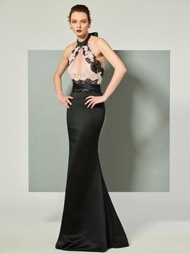 Cute Halter Applique Backless Mermaid Evening Dress With Bowknot