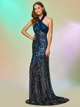 Cute Halter Empire Sequin Backless Mermaid Evening Dress