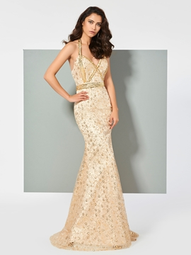 Cute Halter Lace Mermaid Evening Dress With Beadings