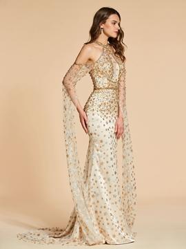 Cute Long Sleeve Beaded Mermaid Evening Dress