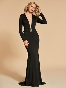 Cute Long Sleeve Deep V Neck Black Mermaid Evening Dress