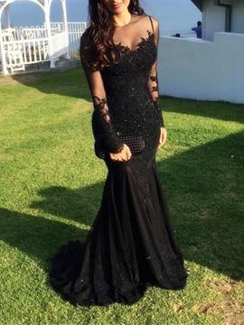 Cute Long Sleeve Lace Black Mermaid Evening Dress