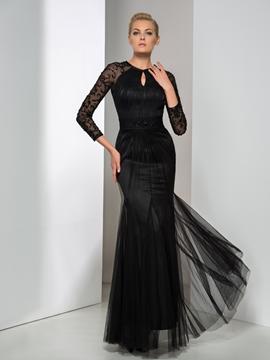 Cute Long Sleeve Sheath Pearl Floor-Length Evening Dress