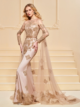 Cute Mermaid Applique Long Sleeve Evening Dress With Watteau Train