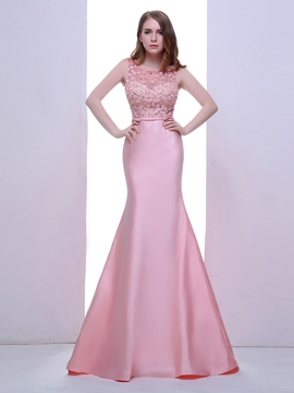 Cute Mermaid Scoop Beaded Crystal Pearls Sweep Train Evening Dress
