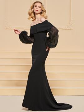 Cute Off The Shoulder Long Sleeve Black Mermaid Evening Dress