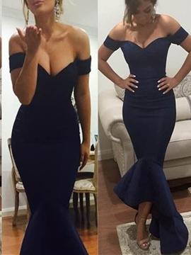 Cute Off-The-Shoulder Ruffles Asymmetry Mermaid Evening Dress