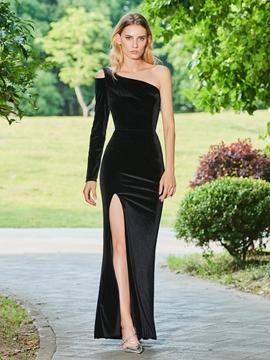 Cute One Shoulder Sheath Black Evening Dress