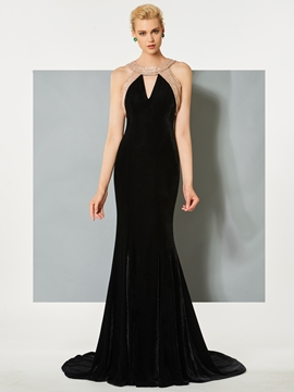 Cute Scoop Mermaid Hollow Floor-Length Evening Dress
