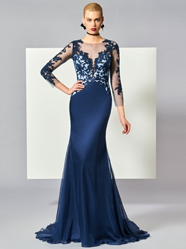 Cute Scoop Neck 3-4 Sleeve Lace Applique Mermaid Evening Dress With Sweep Train
