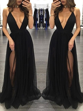 Cute Sexy Split-Front V Neck Black Prom Dress