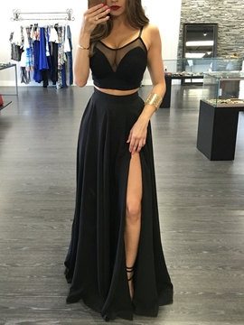 Cute Sexy Two Pieces Straps Side Slit Front Floor Length Evening Dress