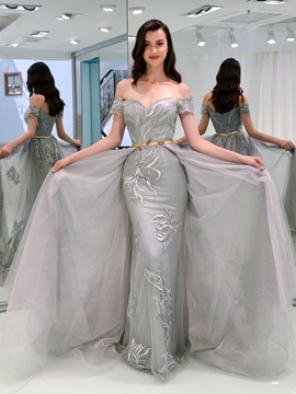 Cute Sheath Off The Shoulder Cap Sleeve Lace Evening Dress