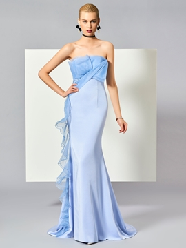 Cute Sheath Strapless Ruffles Zipper-Up Sweep Train Evening Dress