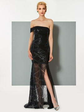 Cute Sheath Strapless Sequin Pleats Slit Evening Dress