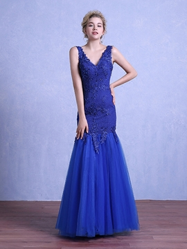 Cute Sheath V-Neck Appliques Beading Lace Floor-Length Evening Dress