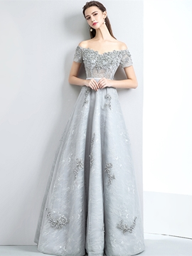 Cute Short Sleeve A-Line Lace Appliques Evening Dress