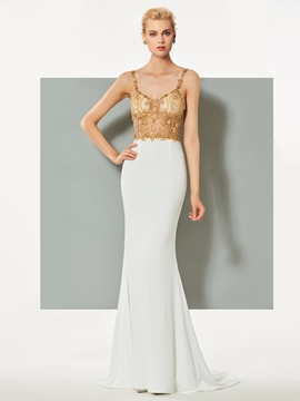 Cute Spaghetti Straps Beading Mermaid Evening Dress With Sweep Train