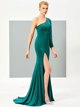 Cute Stylish One Shoulder Beaded Side Slit Floor Length Mermaid Evening Dress