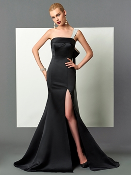Cute Unique Design One Shoulder Slit Side Trumpet Evening Dress