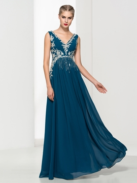 Cute V-Neck Appliques Beading Evening Dress