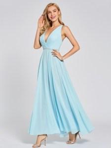 Cute V Neck Beadding A Line Evening Dress