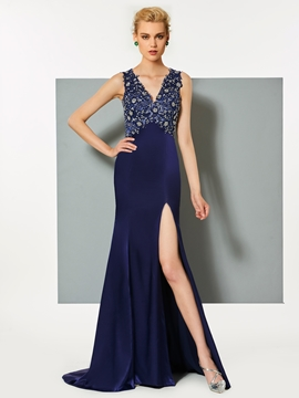 Cute V Neck Beaded Backless Mermaid Evening Dress With Side Slit